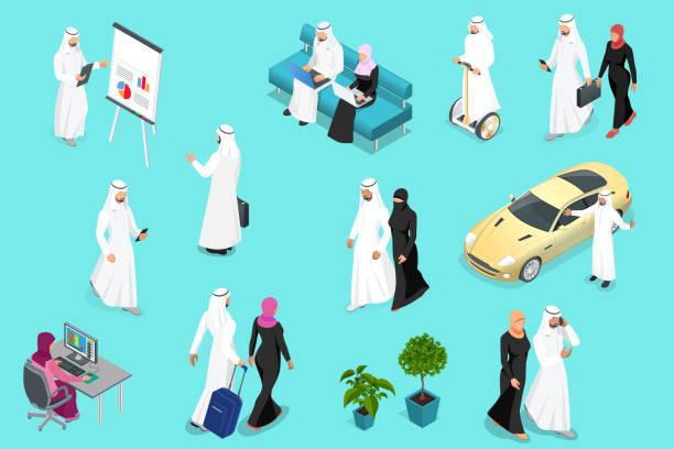 isometirc 沙特企業。阿拉伯男人和女人字元集。穆斯林商人與小工具被隔絕的向量例證。 - emirati woman 幅插畫檔、美工圖案、卡通及圖標