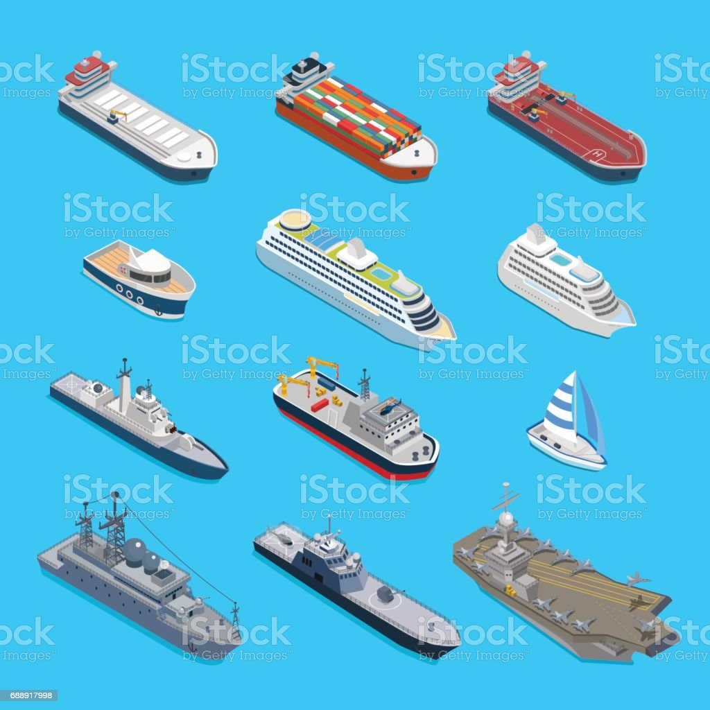 Isometric 12 ship detailed web vector icon set. Flat 3d isometry nautical naval civil military travel transport collection. Tanker cargo cruise ship aircraft carrier cruiser coast guard boat yacht. vector art illustration