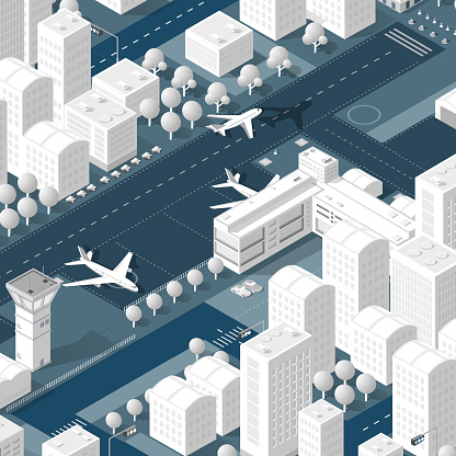 Isometric 3D airport dimensional illustration with jet airplane