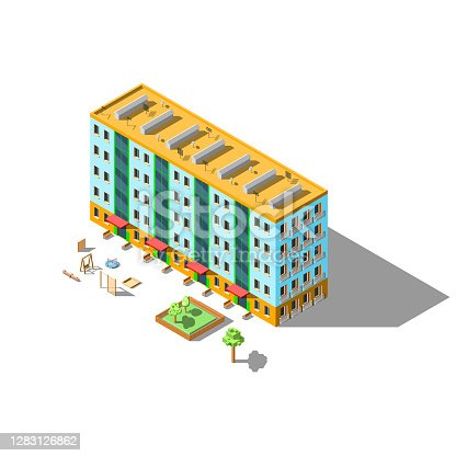 istock Isometric 3D Apartment House Building With Tree Bench And Playground Vector Design Style 1283126862