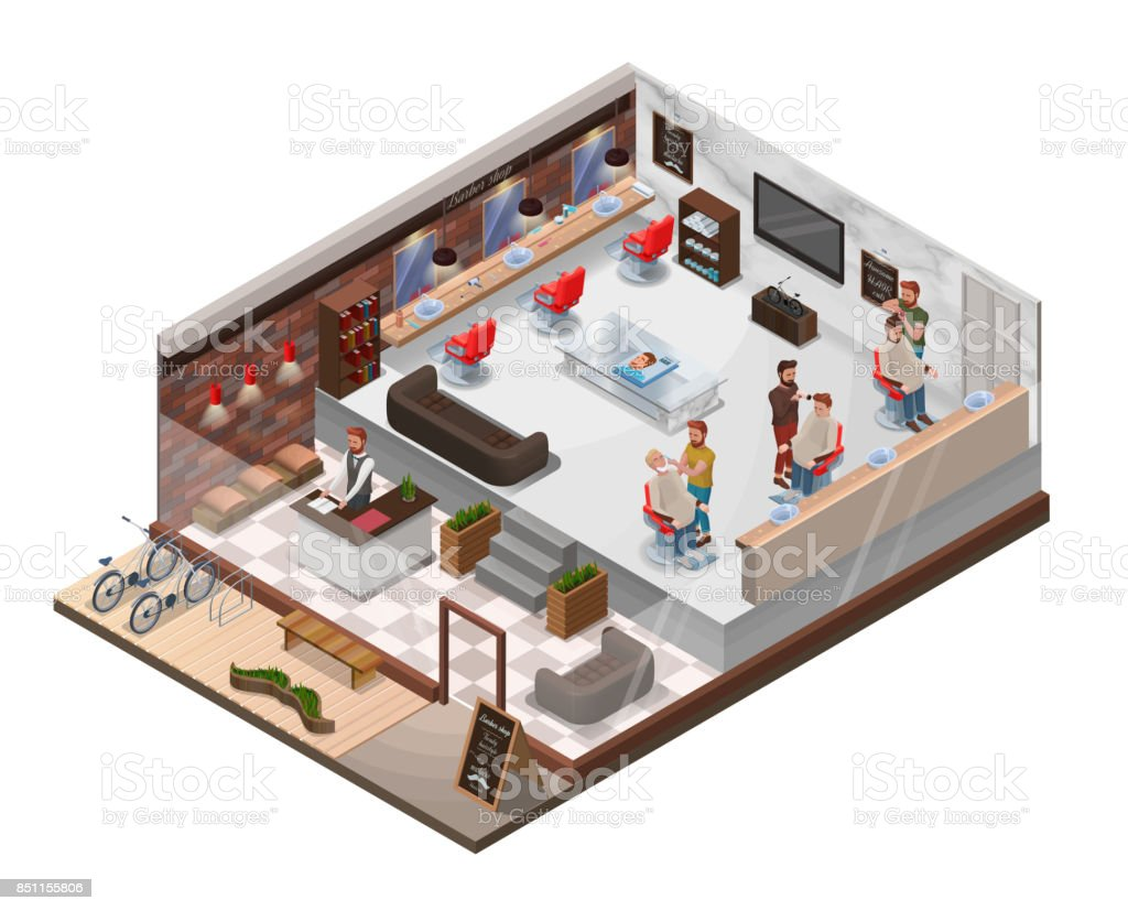 Isometric 3d Barber Shop Interior With Hairdresser Figures Hipster