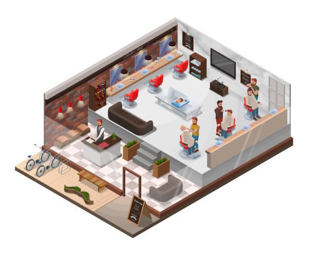 等尺性 3 d 理容室美容室の数字、ヘアサロン、モダンな木製家具、理髪店の椅子、自転車、美容アクセサリー、美容スタジオ レイアウトで流行に敏感な漫画のキャラクターとインテリア - 美容室 3d点のイラスト素材/クリップアート素材/マンガ素材/アイコン素材