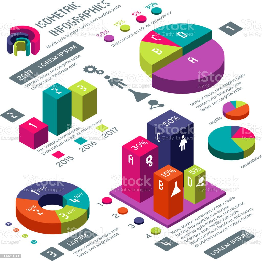 Isometric 3d business vector infographic with color diagrams and charts vector art illustration