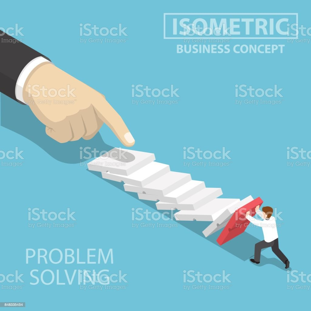 Isometric 3d businessman trying to stop falling domino.