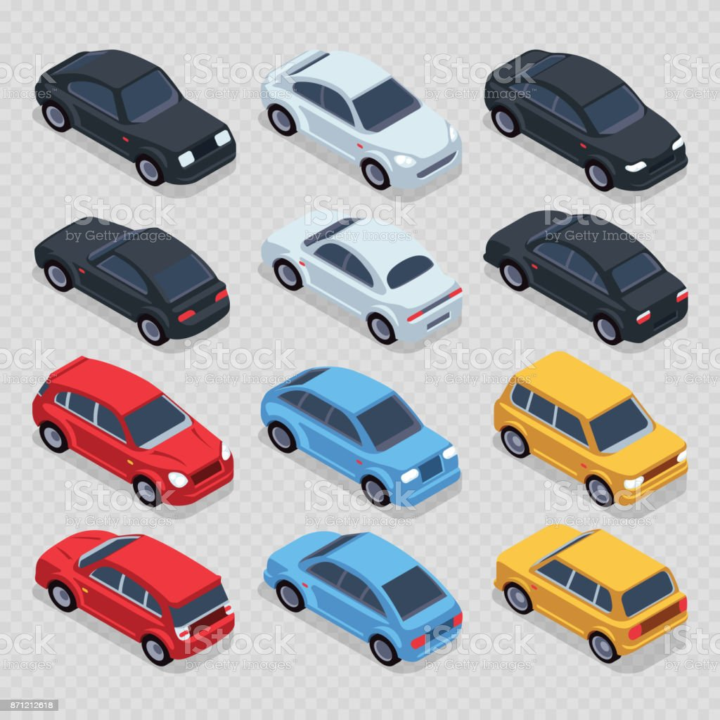 Isometric 3d cars set isolated on transparent background Isometric 3d cars set isolated on transparent background. Set transport isometric automobile, vector illustration Archival stock vector