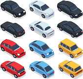 Isometric 3d cars. Transportation technology vector vehicles set