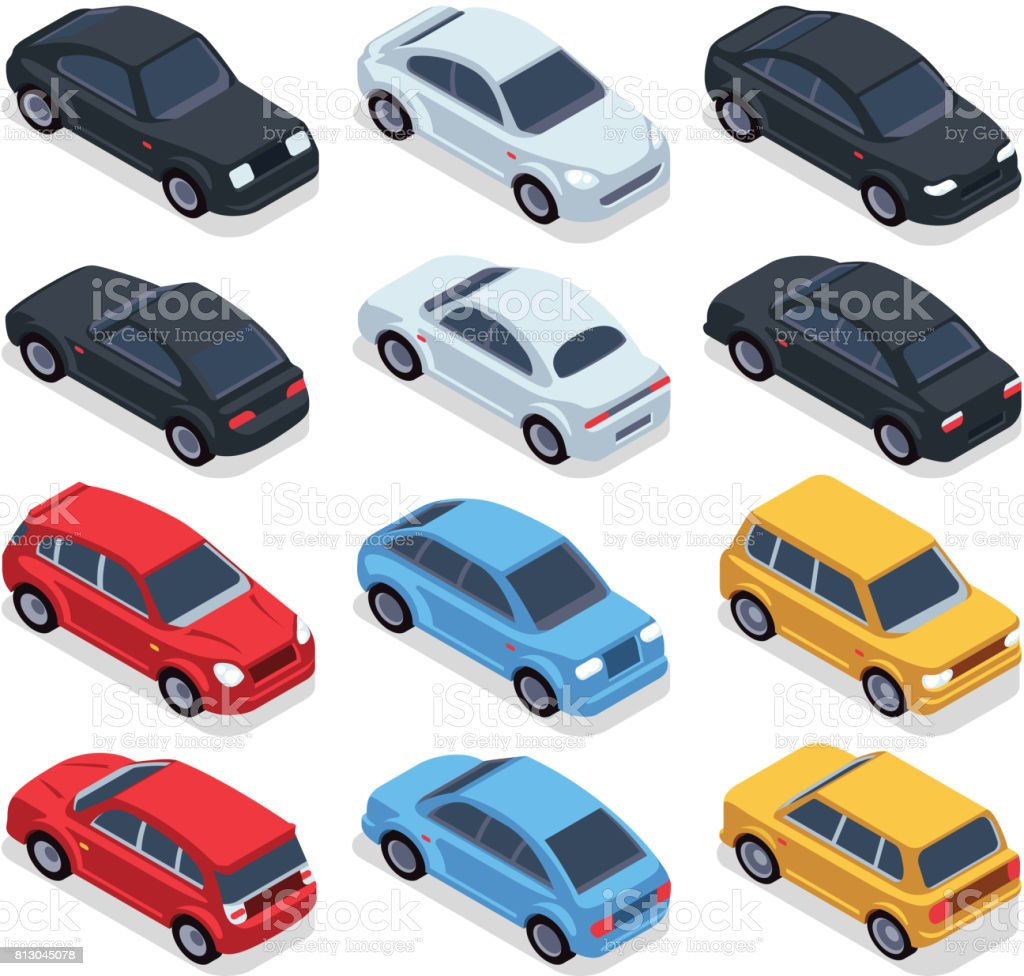 Isometric 3d cars. Transportation technology vector vehicles set - illustrazione arte vettoriale