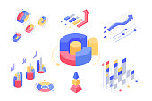Isometric 3d charts and statistics with set diagrams and graphs. Concept collection finance and maths information. Low poly. Vector illustration.