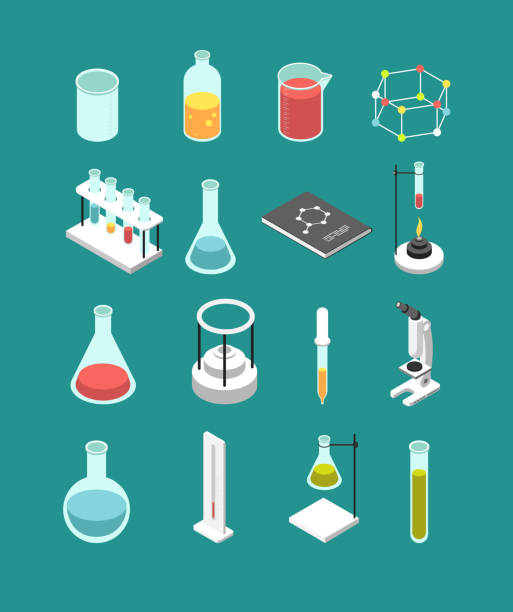 ilustrações de stock, clip art, desenhos animados e ícones de isometric 3d chemical laboratory equipment. chemistry attributes vector icons isolated - laboratory