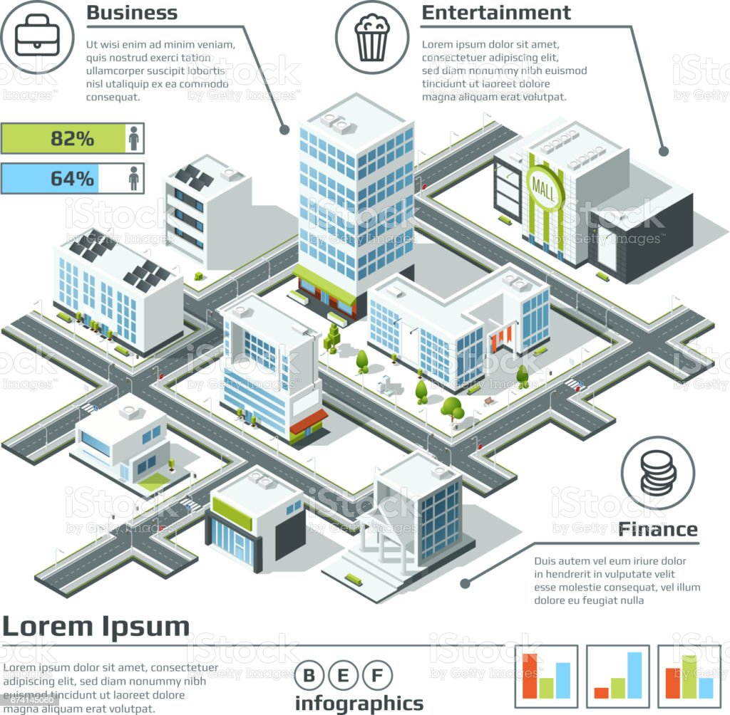 Isometric 3d city map. Infographic vector illustration. Dimensional plan vector art illustration