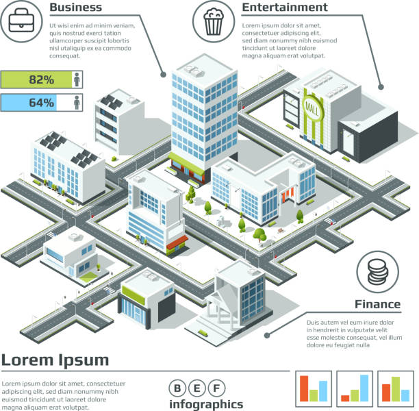isometric 3d city map. infographic vector illustration. dimensional plan - architecture clipart stock illustrations