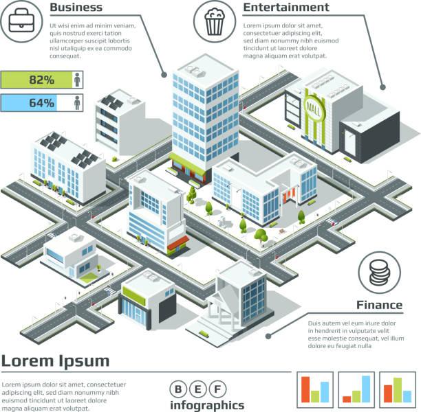 Isometric 3d city map. Infographic vector illustration. Dimensional plan vector art illustration