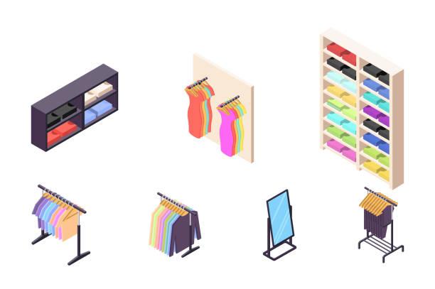 stockillustraties, clipart, cartoons en iconen met isometrische 3d collectie geïsoleerd stedelijke element van kledingwinkel. - clothes