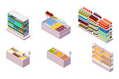 Isometric 3d collection isolated urban element of grocery department. Concept set with fruit, drink, bread, milk, cereal. Low poly. Vector illustration.