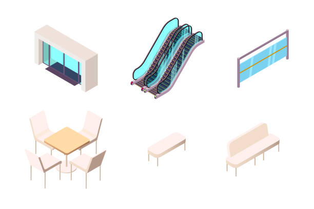 Isometric 3d collection isolated urban element of shopping center entry. vector art illustration