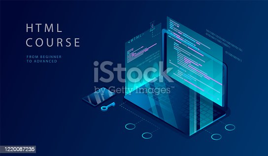 Isometric 3D Concept Of HTML Course. Website Landing Page. Process Of Education Of Programming, Coding, Website development on Html 5, Php, Js, Ajax, Css 3, Jquery, Xml. Web Page Vector Illustration.