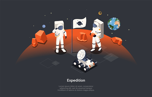 Isometric 3D Concept Of Mars Expedition And Space Tourism. Astronauts in Space Suits Walking On Mars Surface. People Exploring Planet Using Space Equipment And Moon Rover. Cartoon Vector Illustration