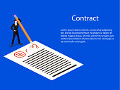 Isometric 3D concept vector concept of signing a contract with a pencil