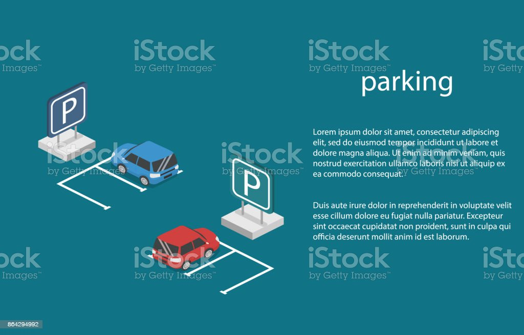 Isometric 3D concept vector illustration car in the parking. royalty-free isometric 3d concept vector illustration car in the parking stock vector art & more images of 'at' symbol