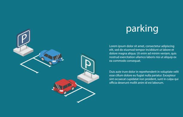 illustrations, cliparts, dessins animés et icônes de concept 3d isométrique vector illustration voiture dans le parking. - gare