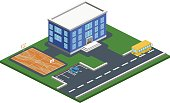 Isometric 3D concept vector illustration school with basketball field. The car parked in front of the building. School bus goes past college of higher education