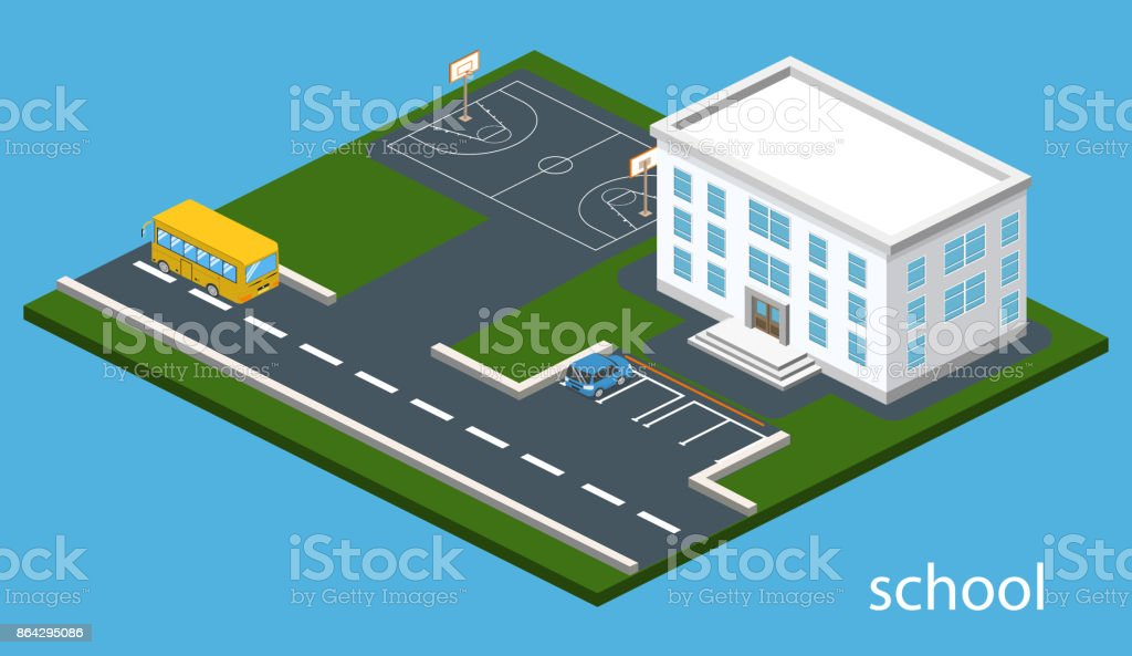 Isometric 3D concept vector illustration school with basketball field royalty-free isometric 3d concept vector illustration school with basketball field stock vector art & more images of abstract