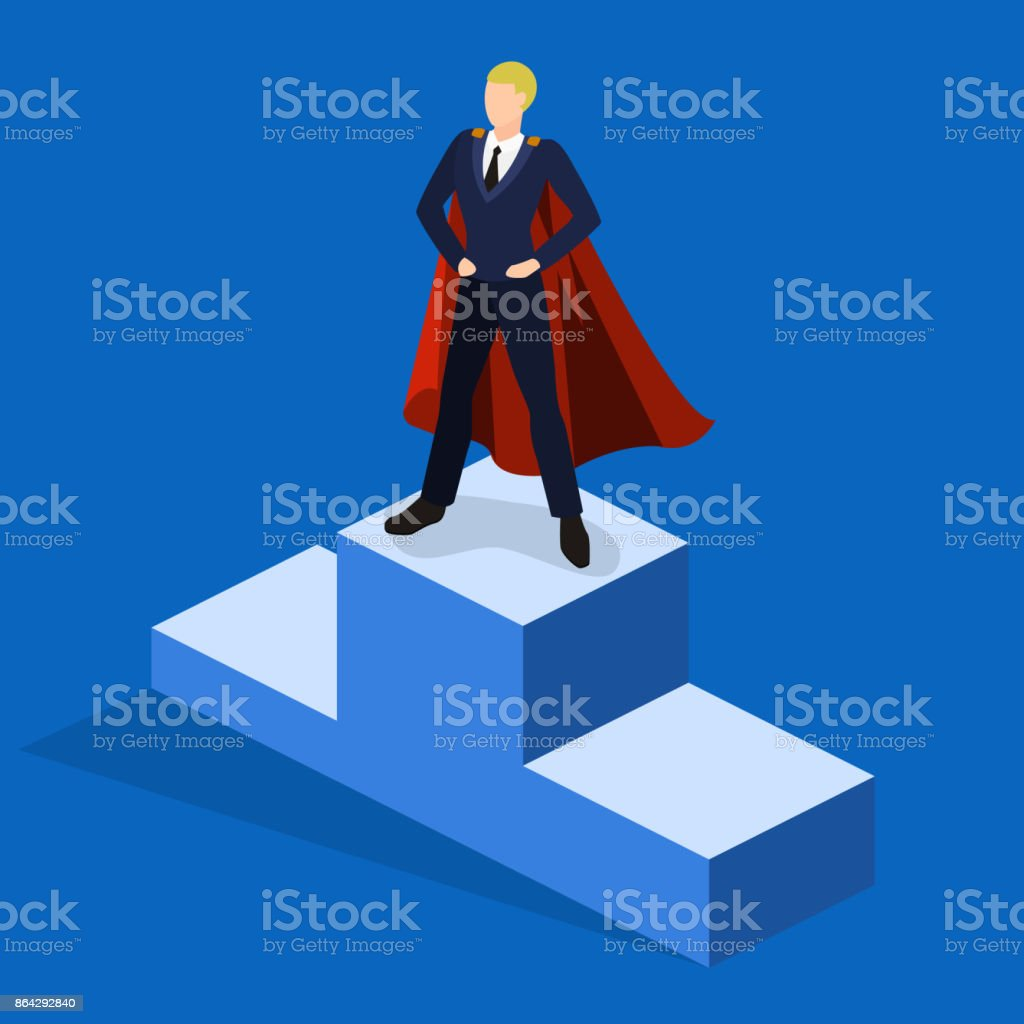 Isometric 3D concept vector illustration the businessman took the first place and rises on the podium of the winners royalty-free isometric 3d concept vector illustration the businessman took the first place and rises on the podium of the winners stock vector art & more images of abstract