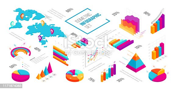 Abstract isometric infographics template. 3D business, financial, marketing data graphs and diagram set showing progress and regression. Colourful graphics, pie chart, world map. Vector Illustration