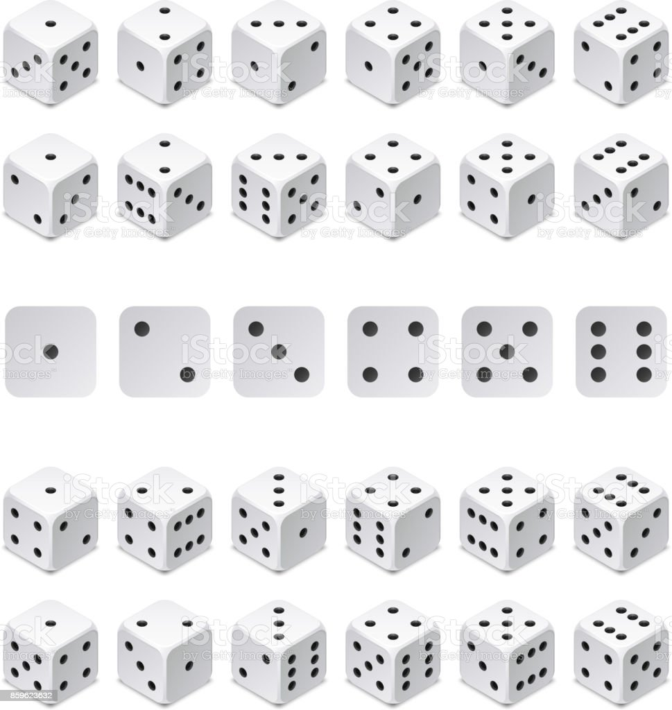 Isometric 3d dice combination. Vector game cubes isolated. Collection for gambling app and casino concept vector art illustration