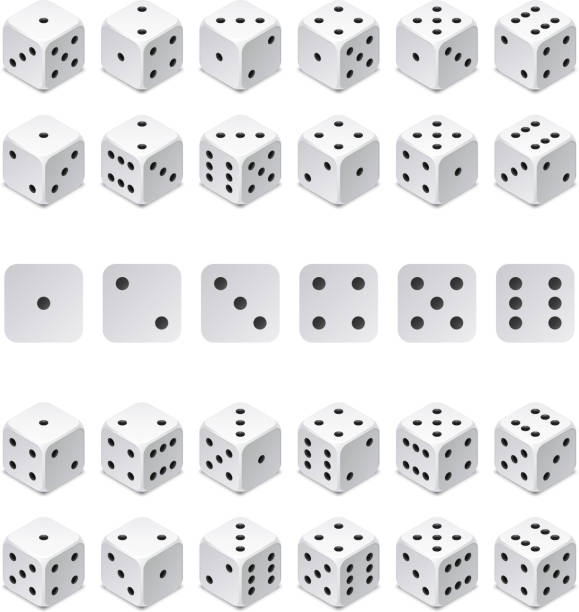 isometric 3d dice combination. vector game cubes isolated. collection for gambling app and casino concept - dice stock illustrations, clip art, cartoons, & icons