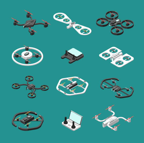 ilustrações de stock, clip art, desenhos animados e ícones de isometric 3d drones. uav unmanned aircrafts vector set - drone