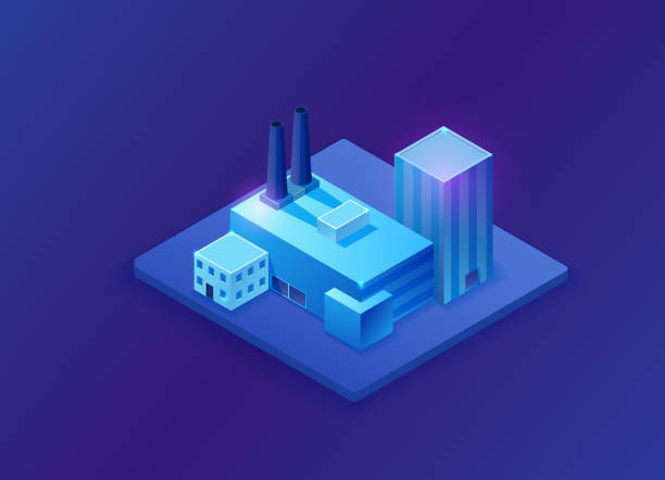 Isometric 3d factory, blue neon glowing plant, flat vector illustration of production building vector art illustration