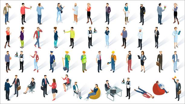izometryczne 3d płaskie wektory ludzi - rzut izometryczny stock illustrations