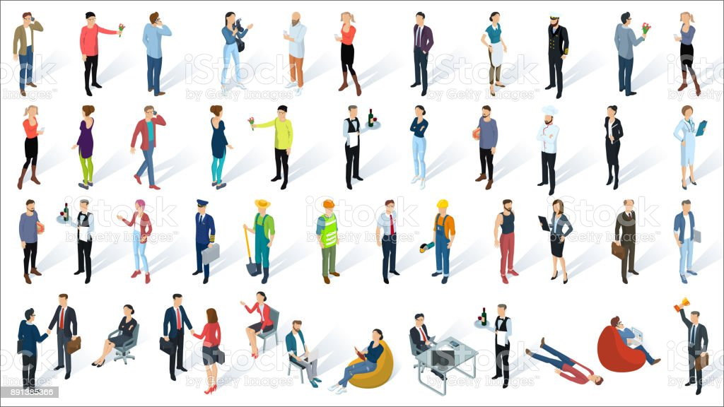 Isometric 3d flat design vector people vector art illustration