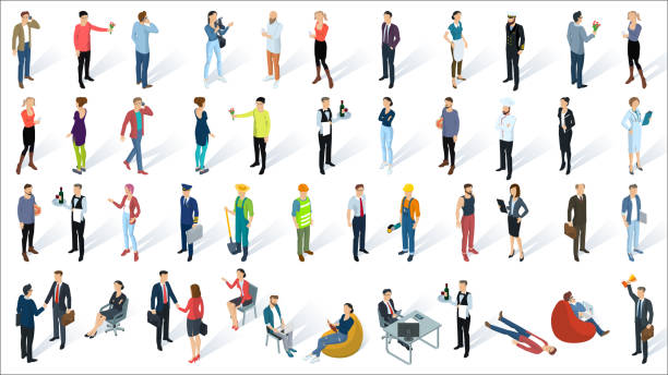 isometric 3d flat design vector people - office job stock illustrations, clip art, cartoons, & icons