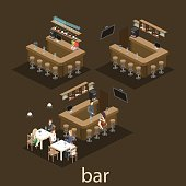 Isometric 3D flat interior of bar or pub. The chairs stand around the bar. alcoholic drinks on the shelves