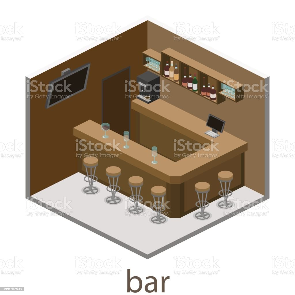 Isometric 3D flat interior of bar or pub. isometric 3d flat interior of bar or pub - immagini vettoriali stock e altre immagini di alchol royalty-free