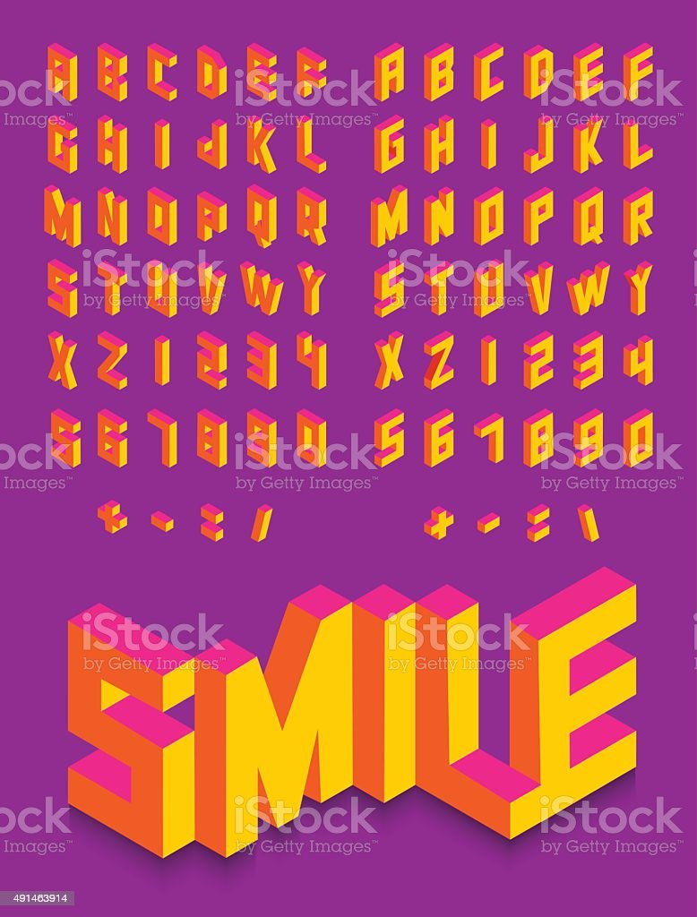 Isometric 3d font colorful isolated background vector art illustration