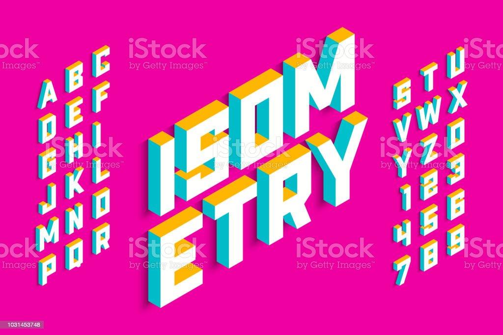 Isometric 3d font design vector art illustration