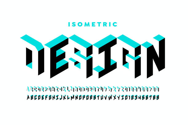 Isometric 3d font design Isometric 3d font design, three-dimensional alphabet letters and numbers vector illustration cube stock illustrations
