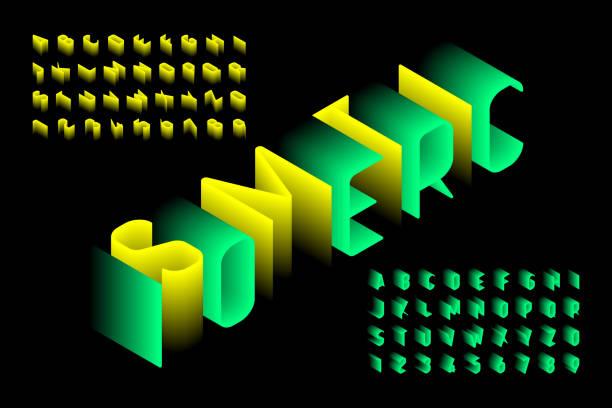 Fuente 3d isométrico - ilustración de arte vectorial