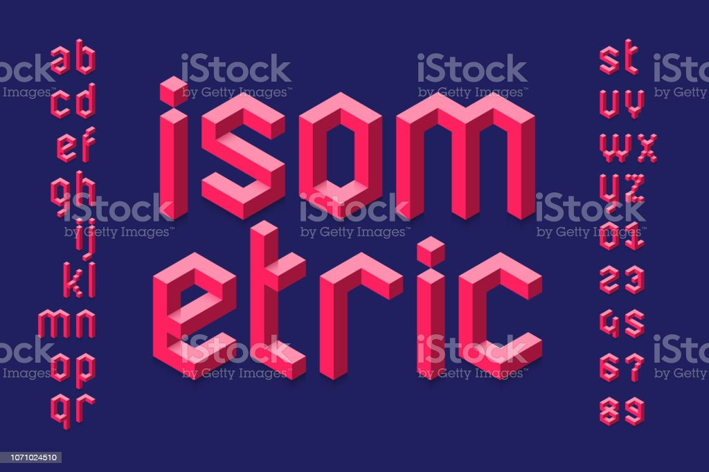 Isometric 3d font vector art illustration