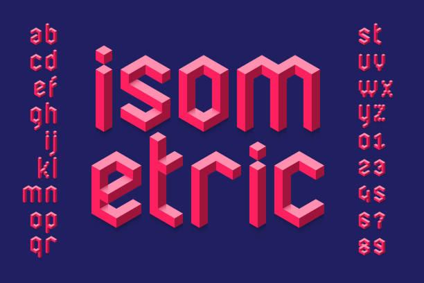 stockillustraties, clipart, cartoons en iconen met isometrische 3d lettertype - blok vorm