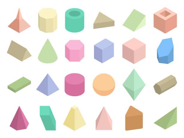ilustrações de stock, clip art, desenhos animados e ícones de isometric 3d geometric color shapes vector set - cilindro formas geométricas