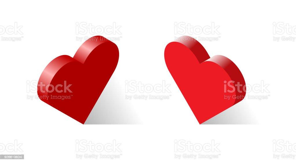 Isometrischen 3d Herz Zeichen Satz Ansicht Von Rechts Links Stock ...