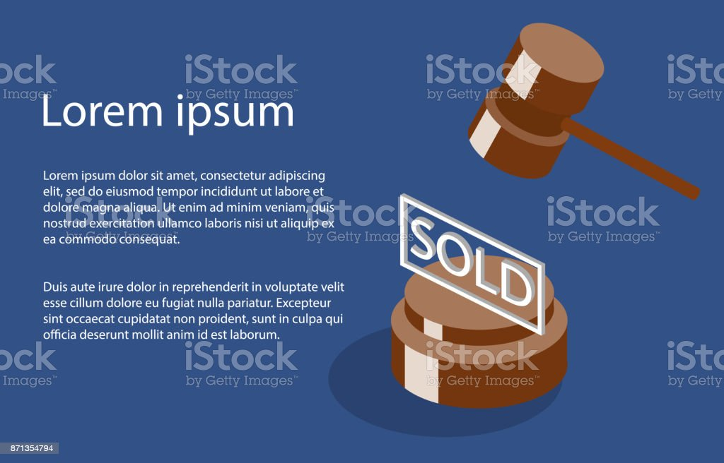 Isometric 3D illustration auction and bidding concept vector art illustration