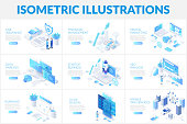 istock Isometric 3d illustrations set. Car insurance, planning, data analysis and startup business with characters. 1192927795