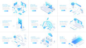 istock Isometric 3d illustrations set. Online shopping, planning, cloud technology and digital marketing with characters. 1186346283