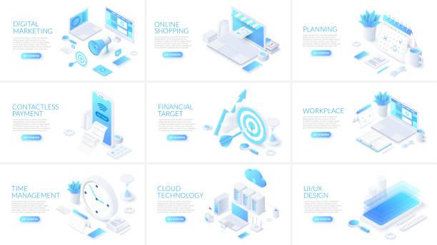 isometrische 3d-illustrationen gesetzt. online-shopping, planung, cloud-technologie und digitales marketing mit charakteren. - isometric icons stock-grafiken, -clipart, -cartoons und -symbole