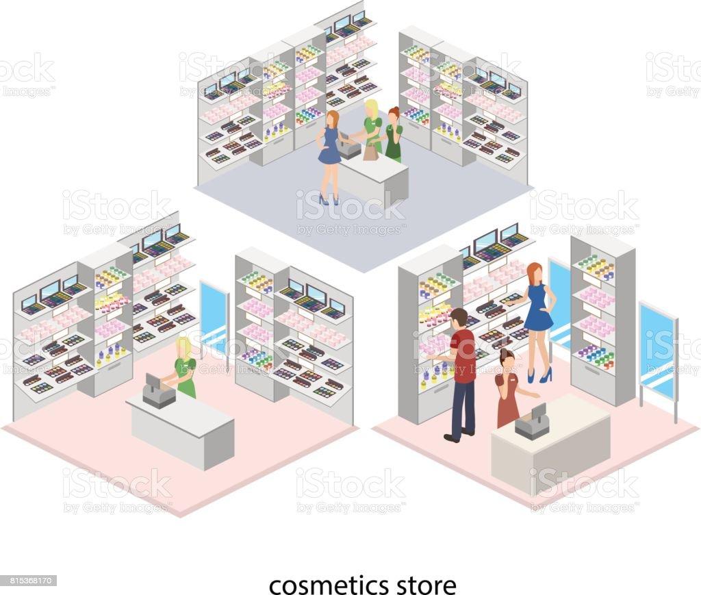 Isometric 3D Interior Design Vector Illustartion Of Cosmetics Store, Beauty  Shop. Customer And Cashier